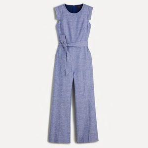 J Crew Resume Jumpsuit Linen Blend Blue Petite 00